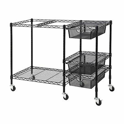 Vertiflex Mobile File Cart with 3 Drawers, 38 x 15.5 x 28 Inches, Black VF50621