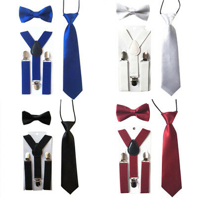 Matching Braces Suspenders & Luxury Bow Tie Set Kids Children Boys Wedding Tool