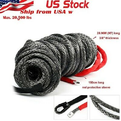 "3/8"" x 95'Black Synthetic Winch Rope Line Cable 20500LBs w/Heat Guard ATV UTV"