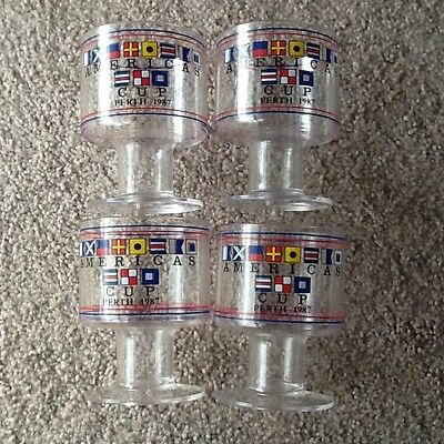 1987 America's Cup Perth - 4 Plastic Goblets - Collectable