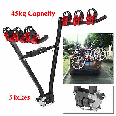 V Type 3 Bicycle Carrier Car Rack Bike Cycle Universal Fits Most Cars Rear Mount