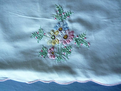 SWEET DAISIES & HEATH Vintage Embroidered Pillow Case Sham Cover Pink Tones