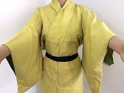 Authentic Japanese yellow wool kimono for women, Japan import, M, LONG (Q1577)