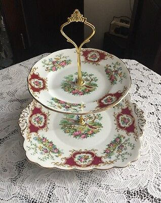 """Pretty Vintage Foley China England Cake Stand """"Boardway"""""""