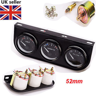 52mm Triple Gauge Kit 3in1 VoltMeter Meter Water Temp Oil Pressure Car Meter UK