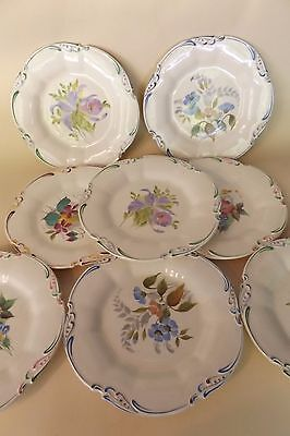 Set of 8 George Jones Crescent English Plates with Hand Painted Floral Decoratio