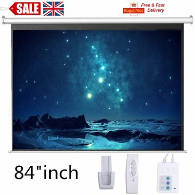 "84"" Electric Motorised Projector Screen Home Cinema HD TV 16:9 Projection Matt"