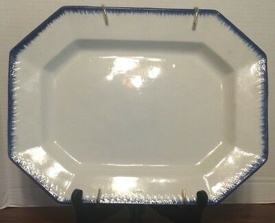 "Antique 1830s English Staffordshire Pearlware 14.75""  Platter Blue Feather Edge"