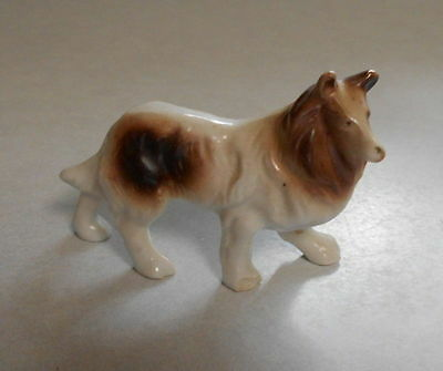 Porcelain Brown & White Collie Dog Figurines