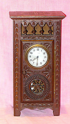 OLD FRENCH WIND UP CLOCK (SCOUT) HOUSED IN ORNATE CARVED OAK CUPBOARD c1940 GWO