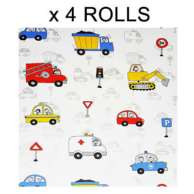 Kids Boys Nursery Wallpaper Cars Fire Engine Police Taxi Truck White Silver x 4