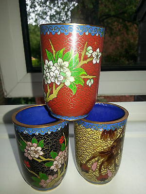 3 x CLOISSONE ON BRASS BEAUTIFUL RICE WINE DRINKING CUP or MINI VASE IN VGC