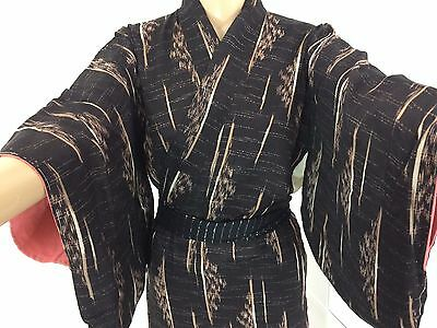 Authentic Japanese black & brown polyester kimono for women, small (Q1581)