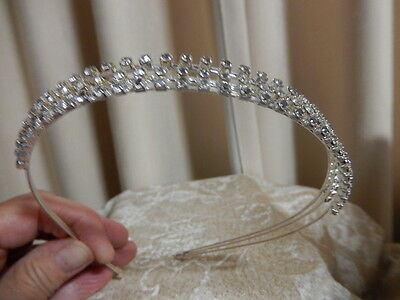 Headband. Silver plated with three rows of Crystals