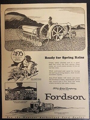 Rare Vintage 1925 Print Ad of Ford Motors Fordson Farm Tractor