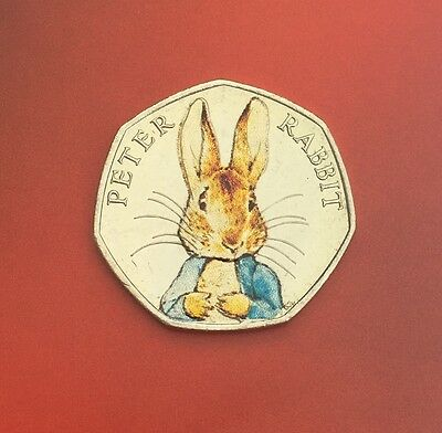 *UNCIRCULATED* Beatrix Potter Peter Rabbit Decal Coloured Fifty Pence 50p Coin