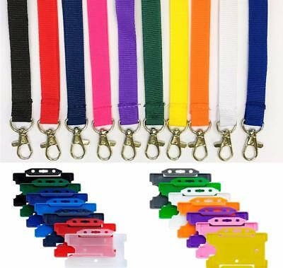 Plain Lanyard metal Neck Strap 15mm Lanyard With ID Badge Card Holder - FREE P&P
