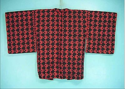 Vintage Kimono Haori Abstract Shell Pattern Black & Red Silk