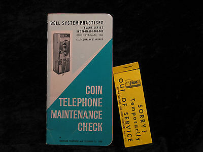 1968 Bell Systems Coin Telephone Maintenance Check Book w/Out of Svc Stickers