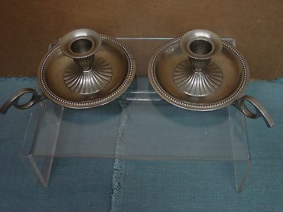 "Set of 2 GATCO Heavy 7"" Solid Brass Lacquered Candle Holders Finger Handle"