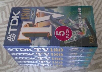 TDK TV - 180 3 Hours Blank 5 Pack Video Tapes VHS Sealed Brand New