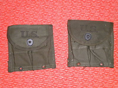 U.S.ARMY:: WWII ,2 (two) SEPARATE MAGAZINE POUCHES,DOUBLE,WEB,CARBINE,Cal.30 M-1