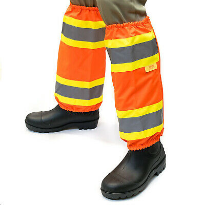 "Waterproof Outdoor Hi-Viz Two tone Trim Leg Gaiters 2"" Reflective Stripes-GAITER"