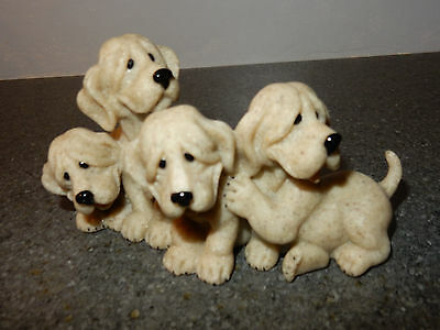 Quarry Critters 4 Puppies Puzzled #50244 Figurines Statue 2001 2nd Nature Design