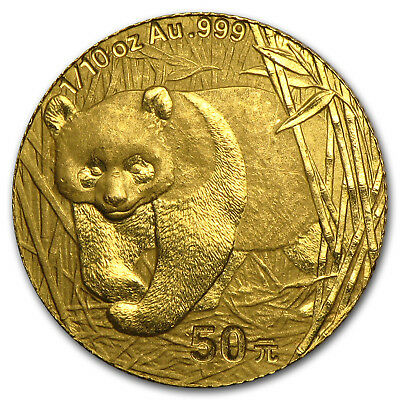 Random Year 1/10 oz Gold Chinese Panda Coin Not Sealed Brilliant Uncirculated