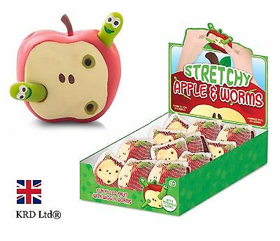 STRETCHY APPLE & WORMS Fiddle ADHD Autism Stress Relief Toy Kids Birthday Gift