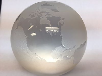 Tiffany & Co. World Globe Earth Frosted Crystal Glass Paperweight