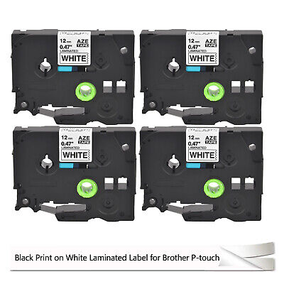4 Pack Tze231 TZ TZe 231 Black on White Label Tape for Brother P-Touch PT-H105
