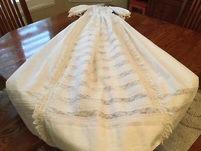 Antique French Victorian Baby Cotton Lace Christening Gown Dress #2