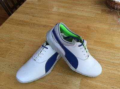 PUMA MEN'S IGNITE SPIKELESS GOLF SHOES Size 9 white/blue/green NEW Spikeless