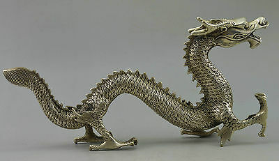 Collectible Decor Old Handwork Silver Plate Copper Carved Big Dragon WALK Statue