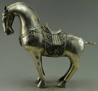 Collectible Decorated Old Handwork Silver Plate Copper Carve Zodiac Horse Statue
