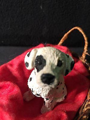 DALMATION Dog/PUPPY Stone Critter Littles Miniature Figurine SCL112 PLUS BED USA