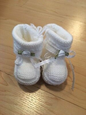 NWT Will/'beth Knit Ribbon Socks Baby Booties Newborn 0-3 White Pink OR Blue
