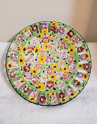 """FLORAL CHINTZ hand-painted Vestal Alcobaca Portugal Plate 8 3/4"""""""