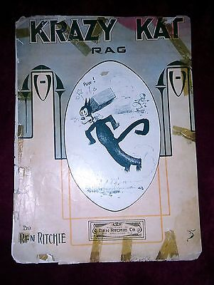 1911 KRAZY KAT RAG Sheet Music George Herriman VERY RARE Poor