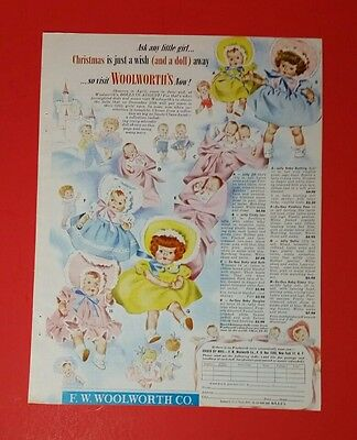 Original Print Ad 1951 Woolworth's Open House Doll House Vintage Art