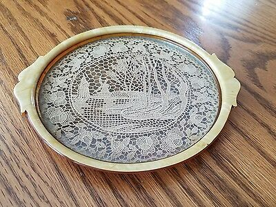 "Vintage Lucite Glass Ornate Lace (Holland Scene) Vanity Trinket Tray 7.25""×.50"""