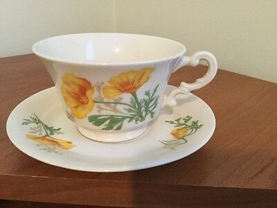 Vintage O.P.CO Syracuse China California poppy Matching Cup And Saucer