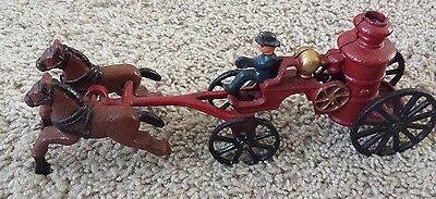 Vintage Cast Iron Horse Drawn Fire Truck Pumper Wagon with Driver NICE