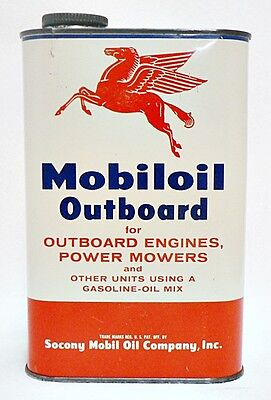 Vintage One Quart Mobiloil Outboard Engine Full Oil Can With Pegasus