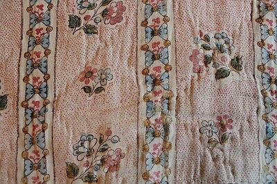 Sweet 18th c(1700's) French Hand Blocked printed Cotton Quilt Piece