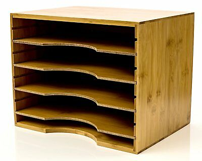File Organizer Mail sorter, With Four Adjustable Dividers Natural Bamboo wood By