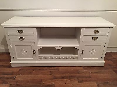 Edwardian mahogany carved large sideboard refurbished in All White