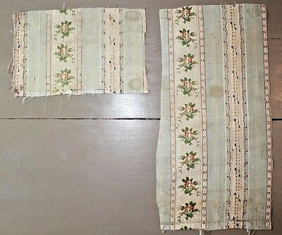 2 Pieces of French Antique c1780 Silk Brocade -Faded-Dolls