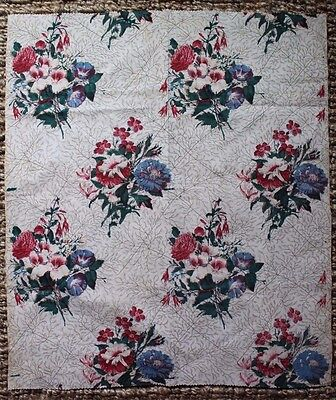 """French Antique Hand Blocked Print Home Cotton Botanical Fabric c1850 L28"""" x W25"""""""